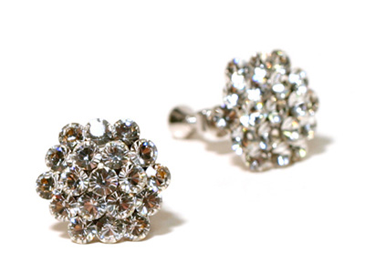 Clear Cluster Clip On Earrings