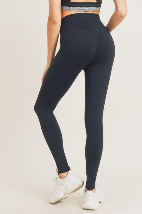 Tapered Band Essential Solid Highwaist Leggings - Adult