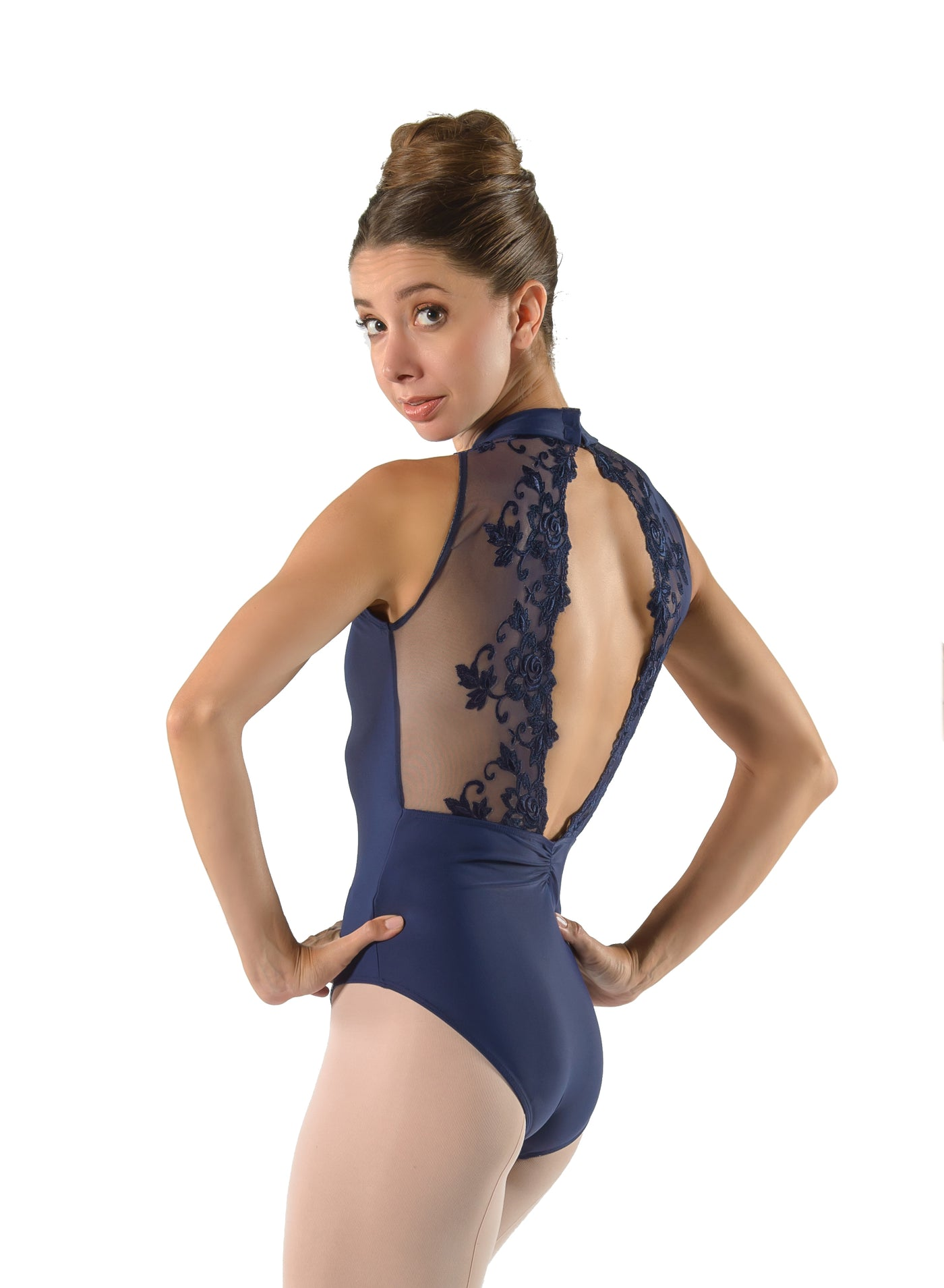 Amelie Lace Back High Neck Leotard - Adult