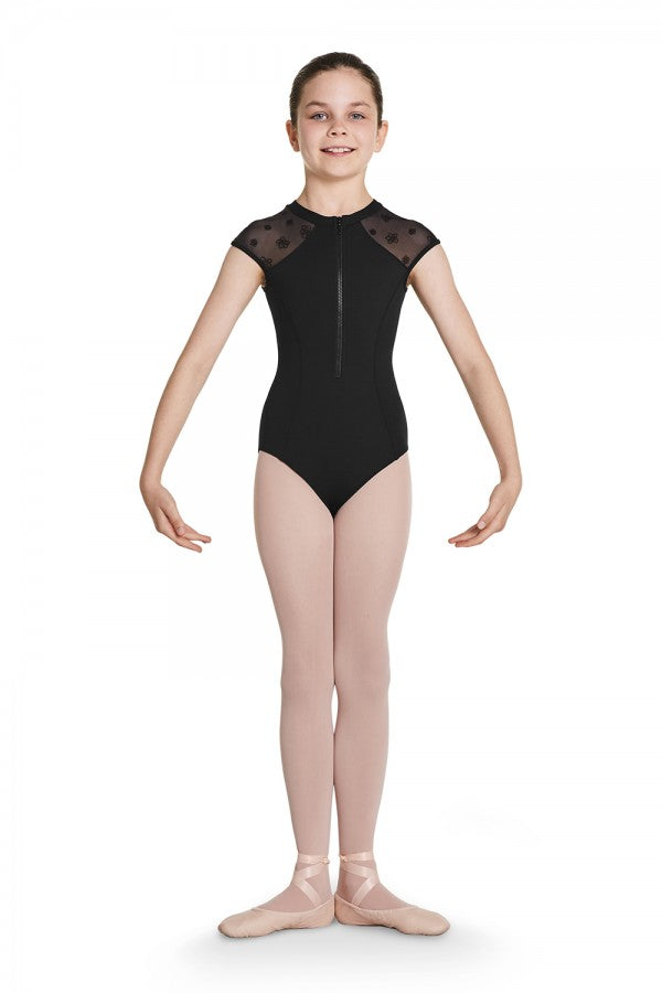 Petrina Zip Front Cap Sleeve Leotard - Child