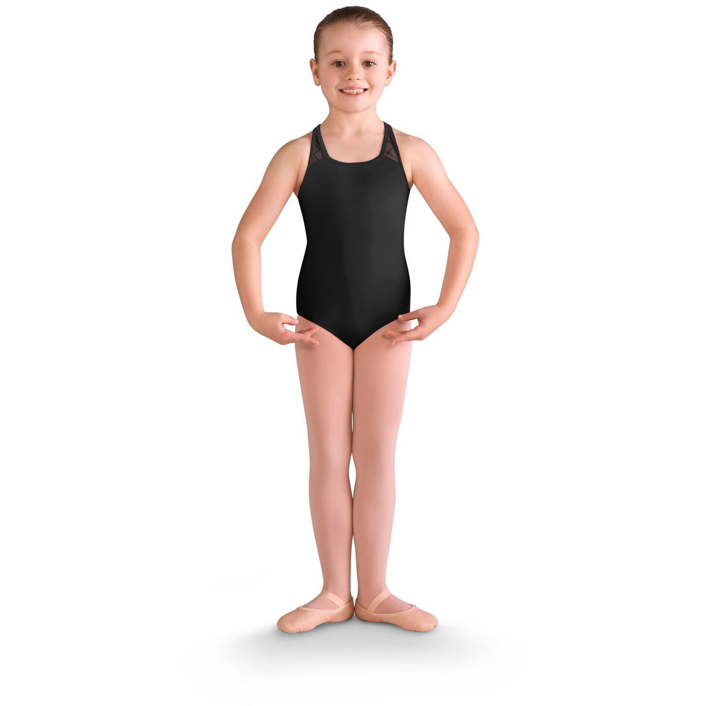 Diamond Heart Flocked Cross Back Leotard - Child