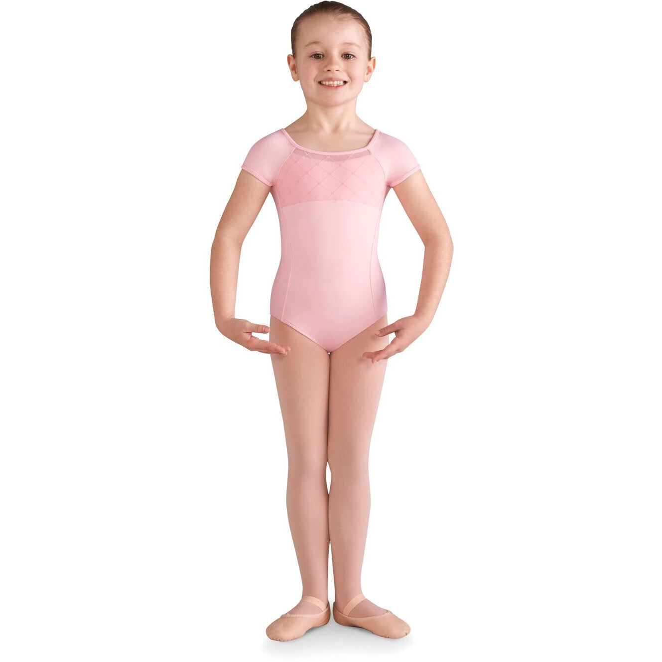 Diamond Heart Flocked Cap Sleeve Leotard - Child