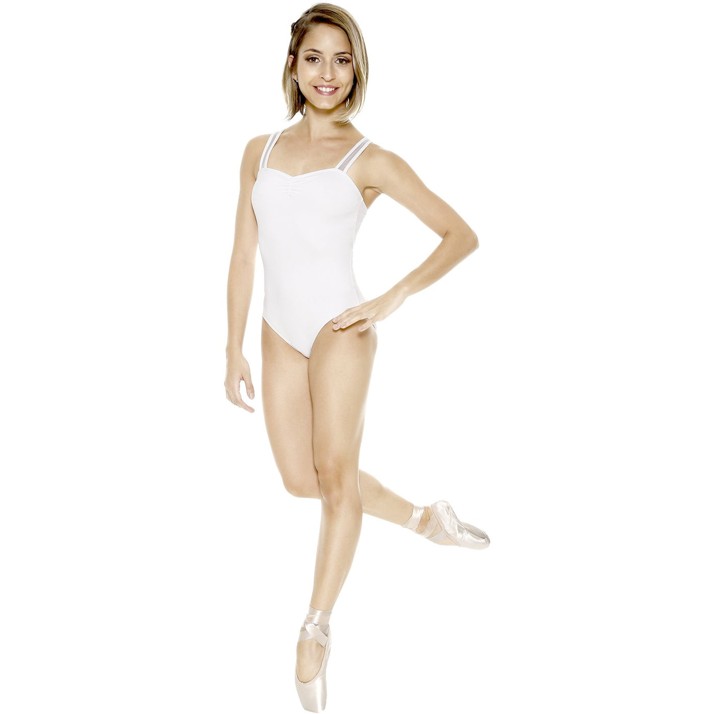 Pinch Front Leotard with Mesh Insert Straps - Adult