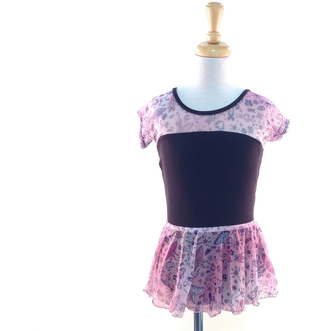 Printed Mesh Cap Sleeve Leotard - Child