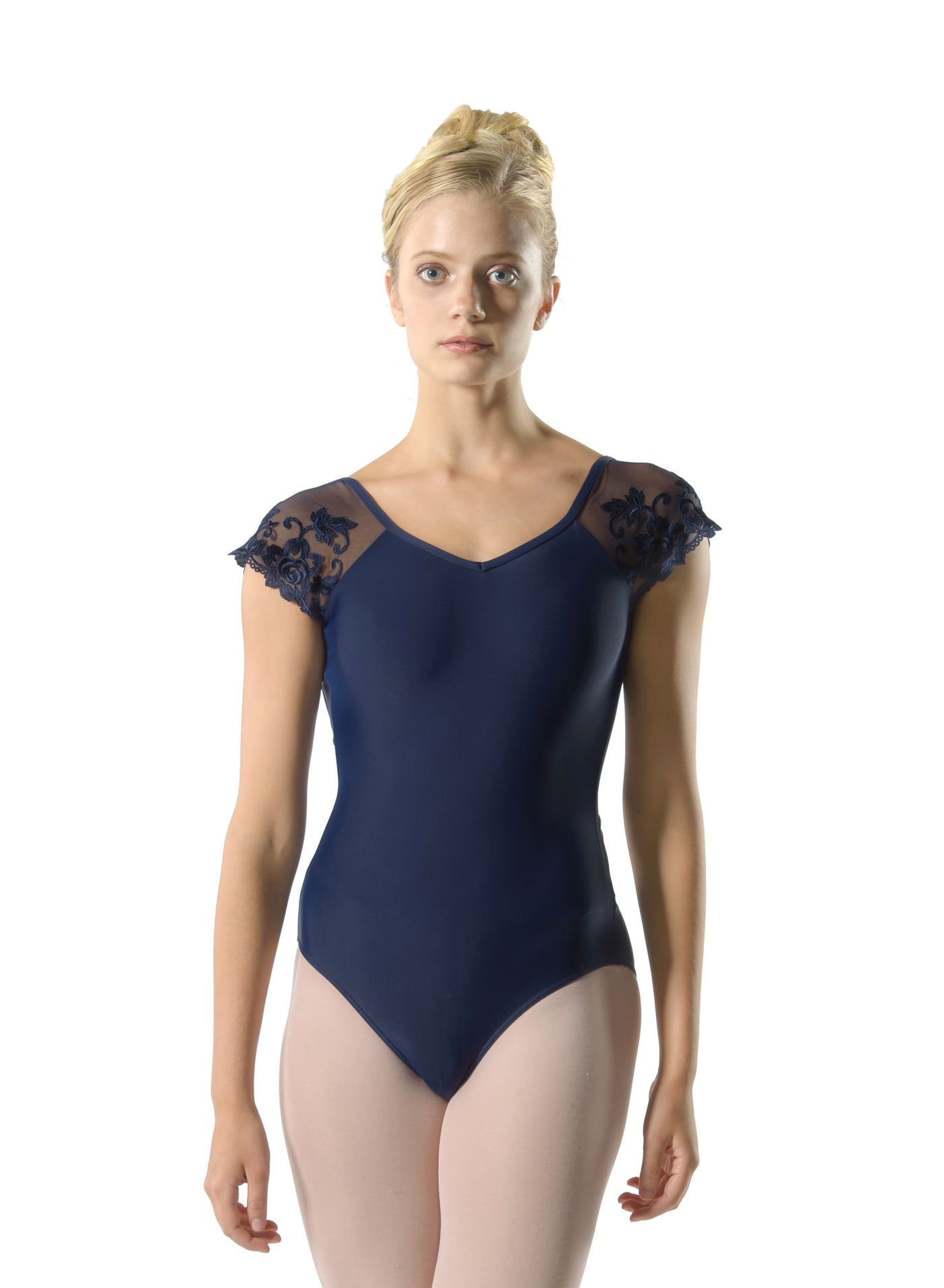 Josephine Lace Sleeve V Cinched Back Leotard - Adult