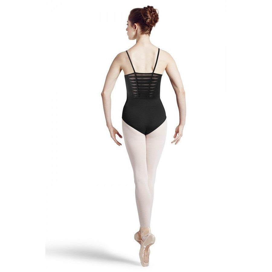 Khloe Spliced Back Panel Leotard with Mesh Underlay - Adult