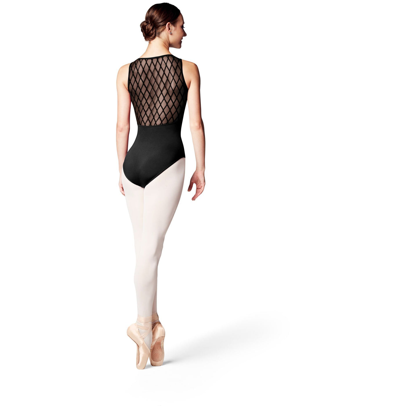 Diamond Flocked Mesh Back Leotard - Adult