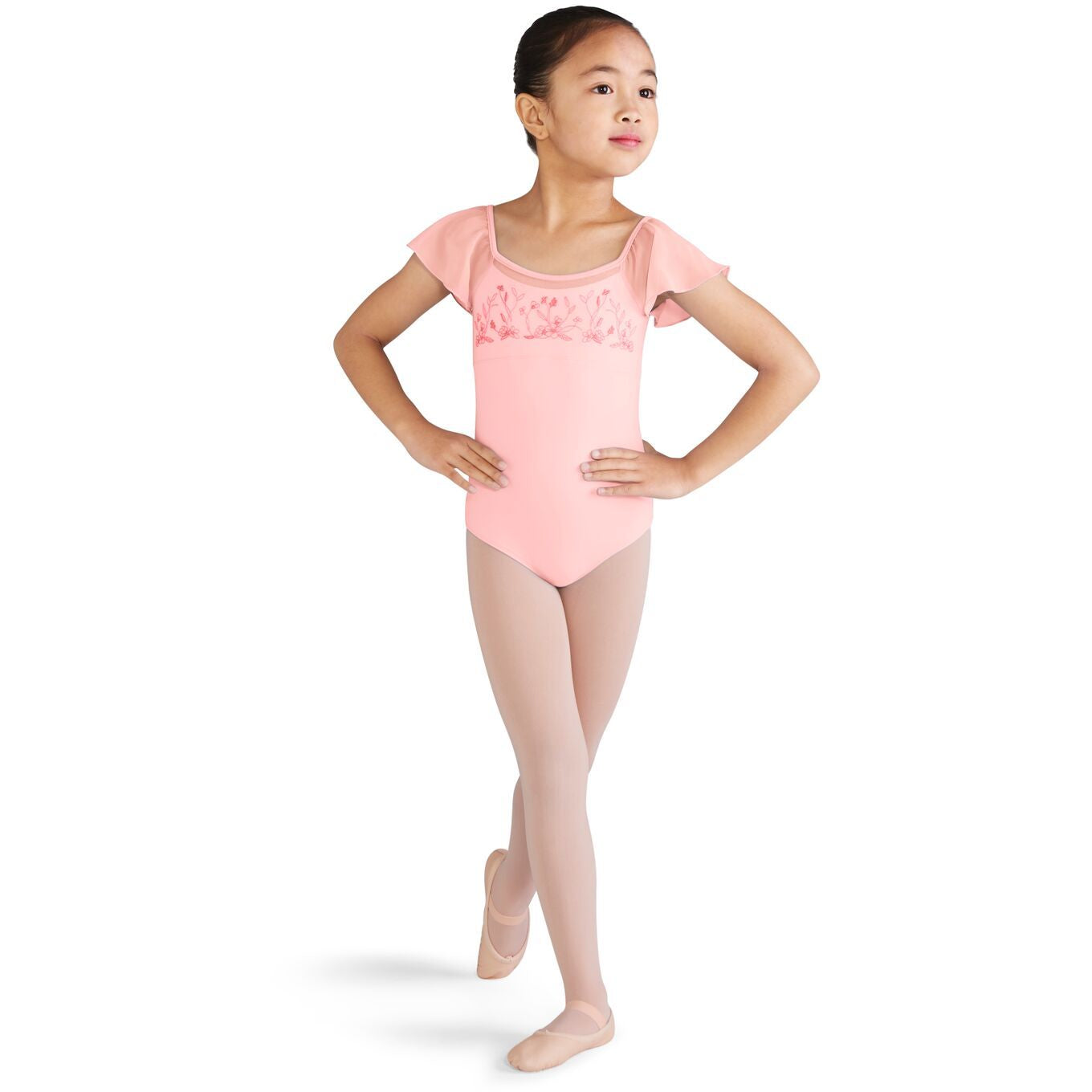 Embroidered Flutter Sleeve Leotard - Child