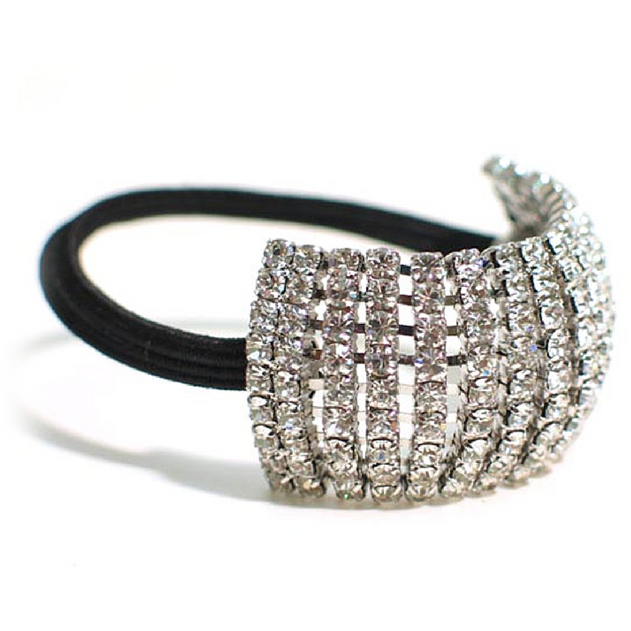 Nine Row Clear Rhinestone Ponytail Holder