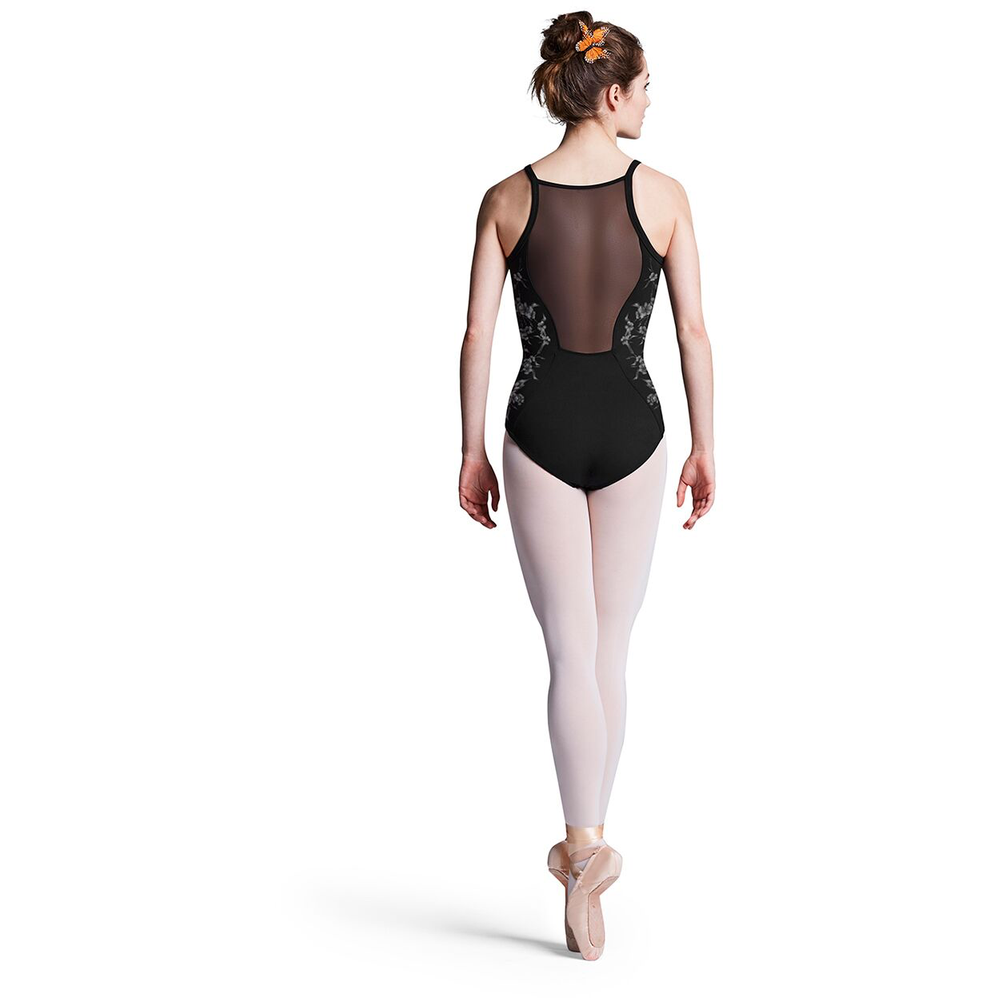 Printed Side Panel Leotard with Mesh Back - Adult