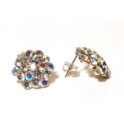 Cluster Earrings - AB - Pierced