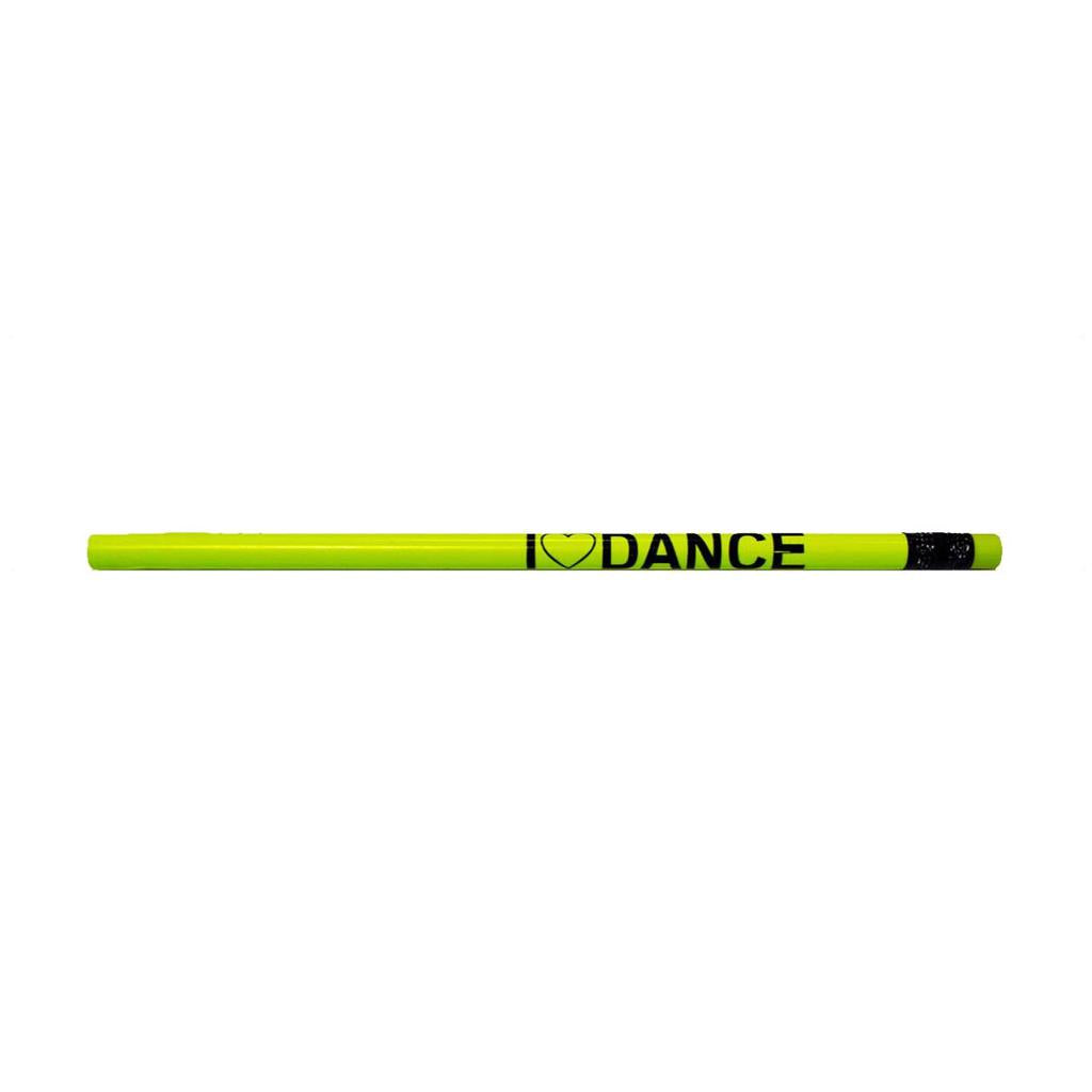 Neon Yellow I Love Dance Pencil