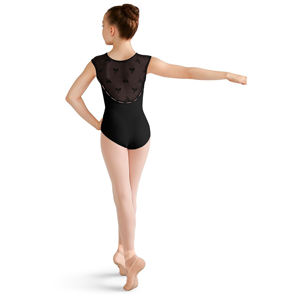 Scoop Back Bow Mesh Cap Sleeve Leotard - Child