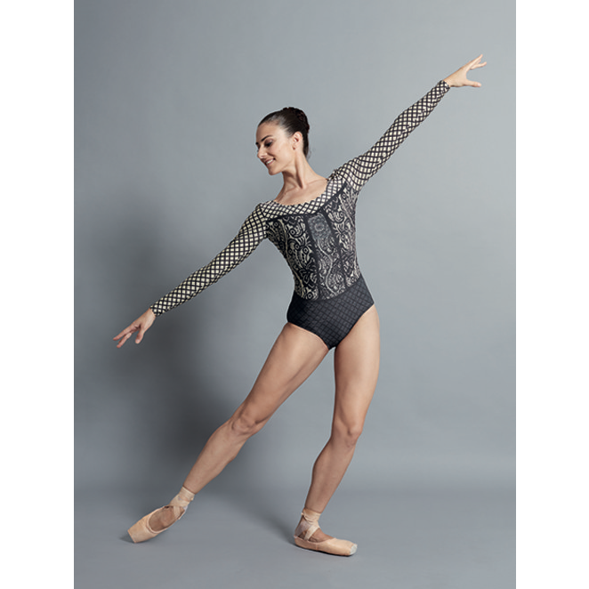 Lyman Printed Long Sleeve Leotard - Adult