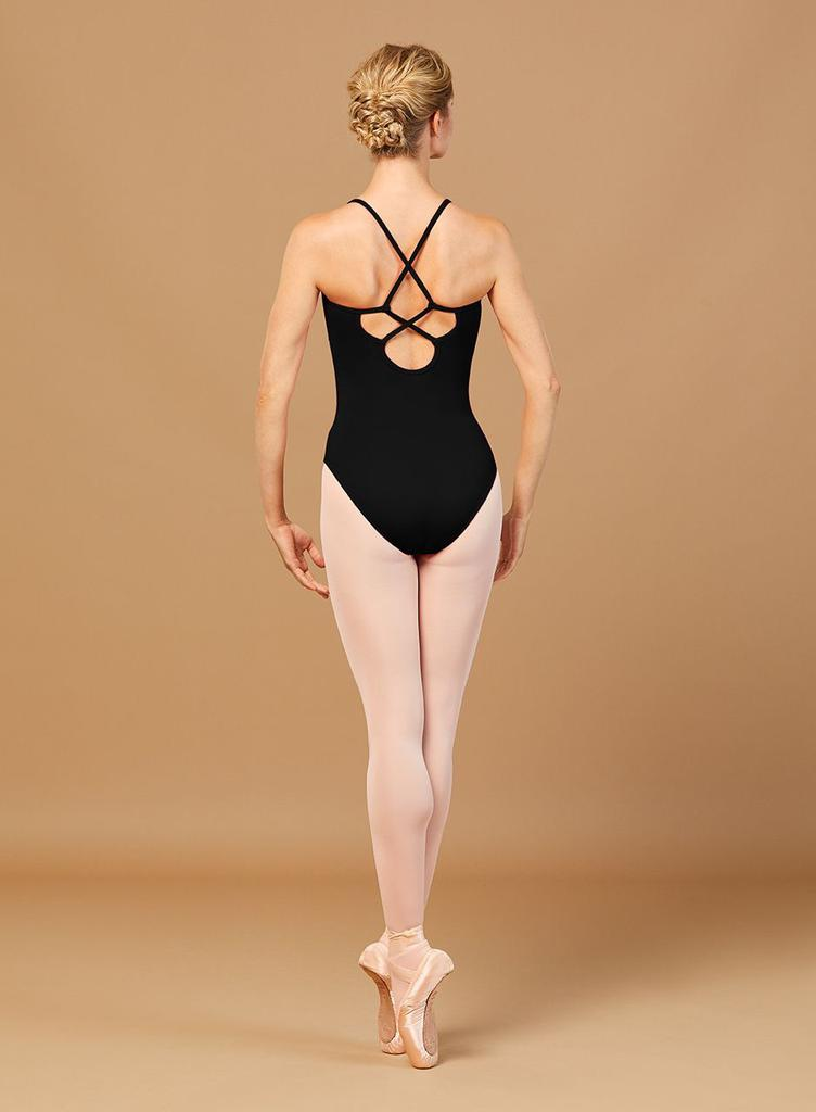 Zora Embroidered Trim Leotard with Criss Cross Straps - Adult