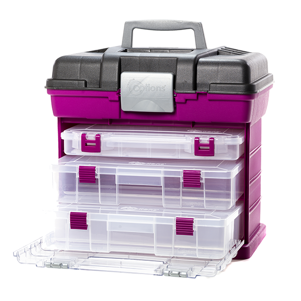 Large Grab N Go Caboodle Organizer, Magenta and Sparkle Grey