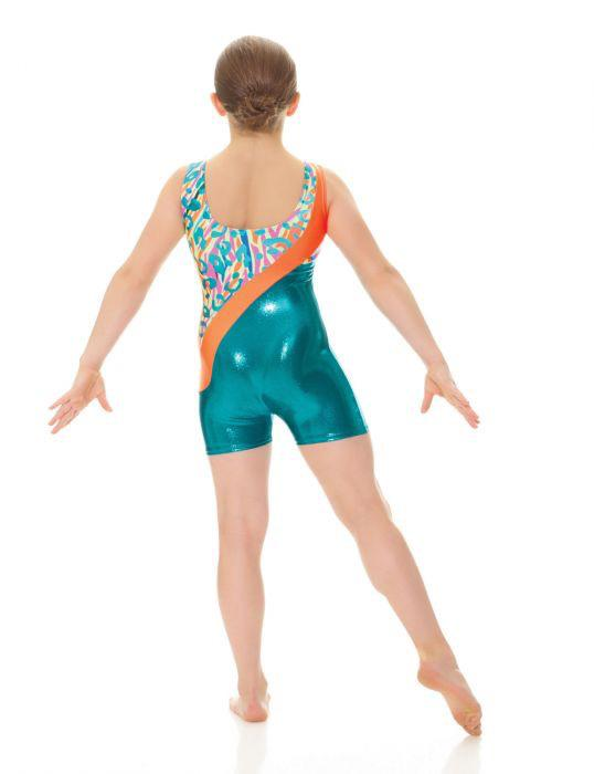 Metallic and Printed Gymnastics Unitard - Child