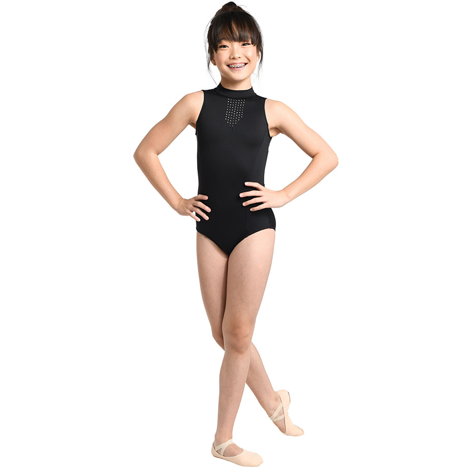 Laser Cut Mock Neck Leotard - Child