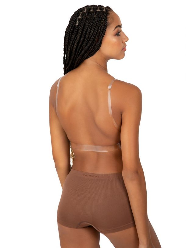 Deep Plunge Clear Back Bra - Tween
