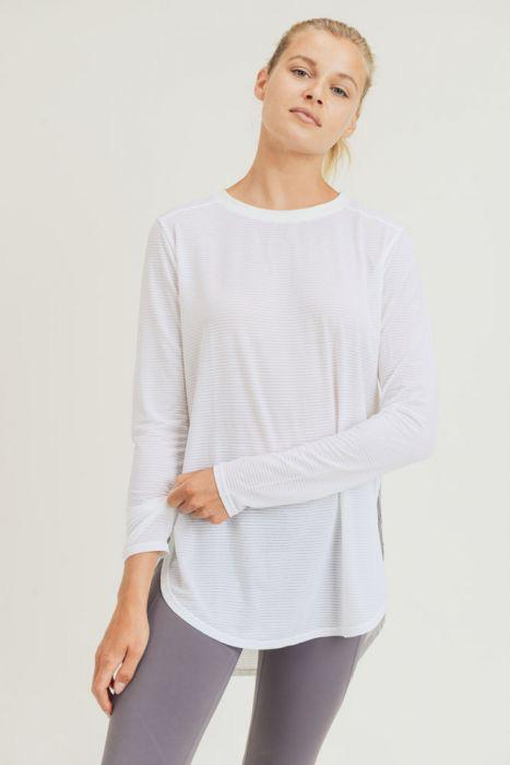 Ribbed Mesh Long Sleeve Flow Top with Side Slits