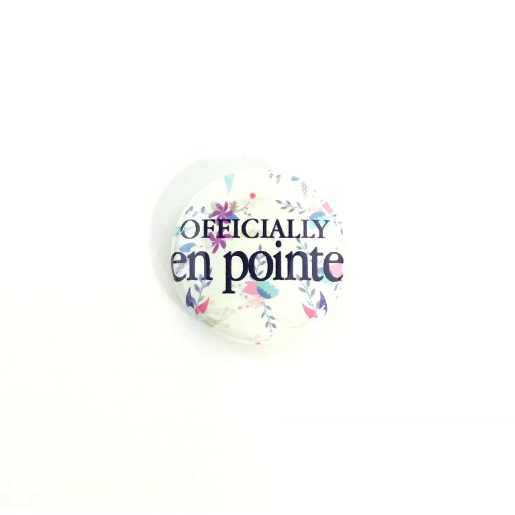 Offically En Pointe Button - Yellow Floral