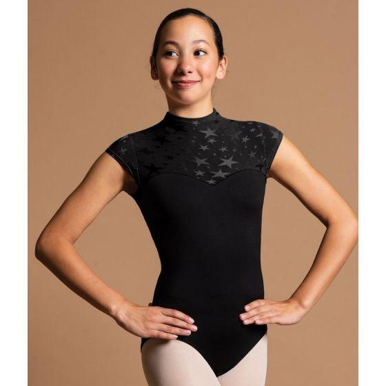 Sweetheart Cap Sleeve With Stars Zip Back Leotard - Child