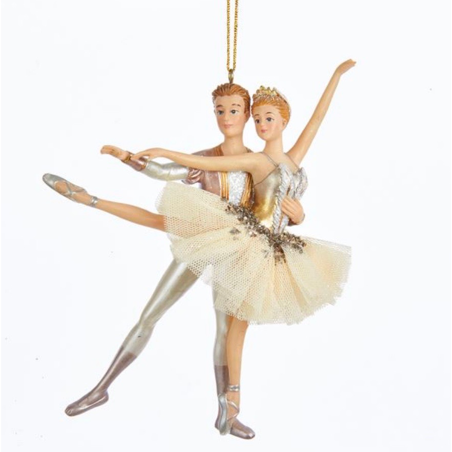 Ivory and Gold Ballet Couple Ornament