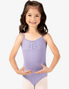 Gathered Front Diamante Flower Mesh Back Camisole Leotard - Child