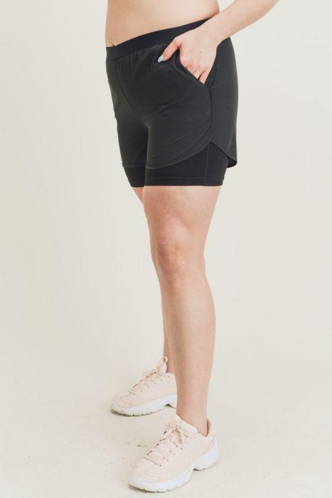 Hybrid Lined Active Shorts - Plus Size
