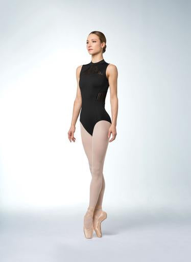 High Neck Zip Back Stripe Mesh Leotard - Adult
