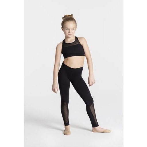 Swiss Dot Mesh Panel Leggings - Child