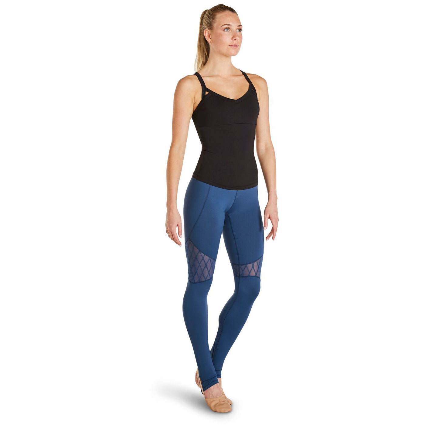 Diamond Flock Mesh Stirrup Leggings - Adult