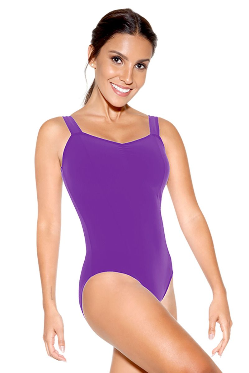 Wide Strap Leotard with Pinch Front - Adult