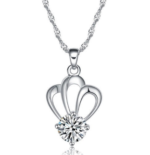 Silver Necklace Chain with Crown Pendant