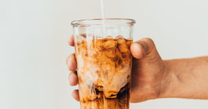 A glass of iced coffee made using our iced coffee recipe