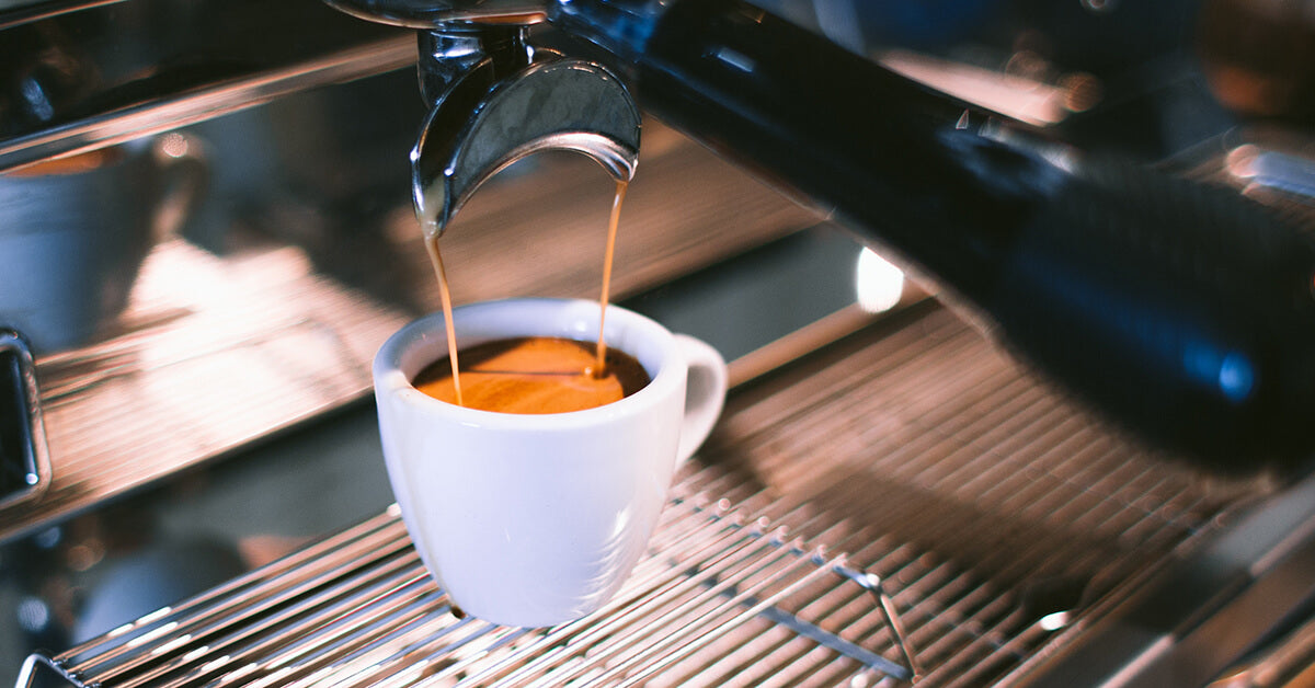 Shot made with an espresso machine at home