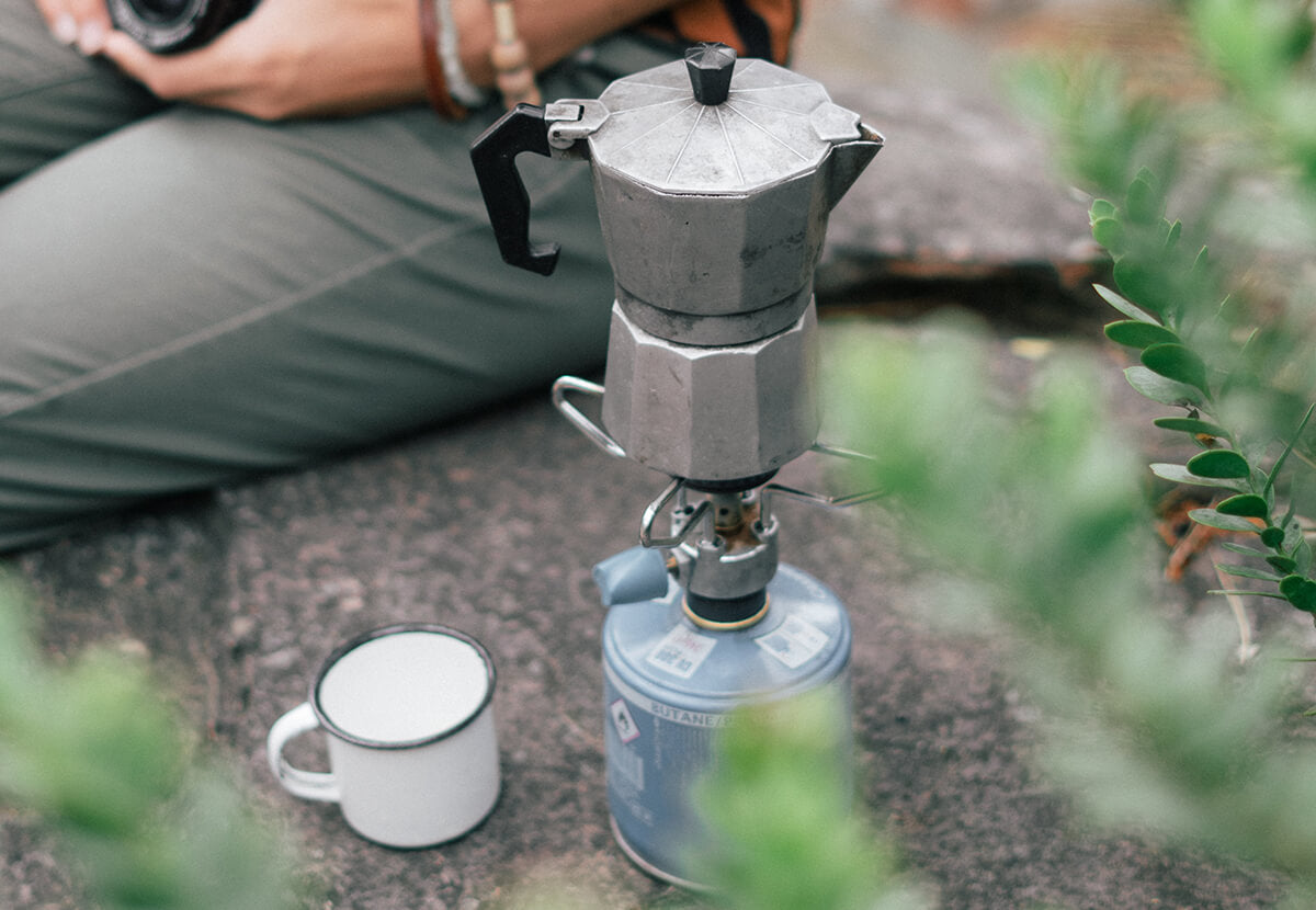 A moka pot, one of the best portable coffee makers for espresso