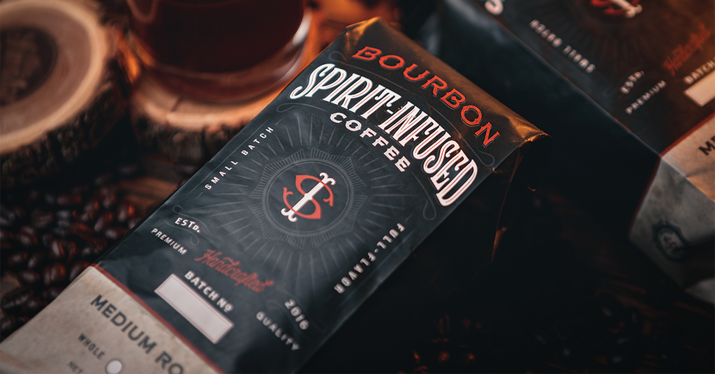 Fire Dept. Coffee, Bourbon Infused coffee package.
