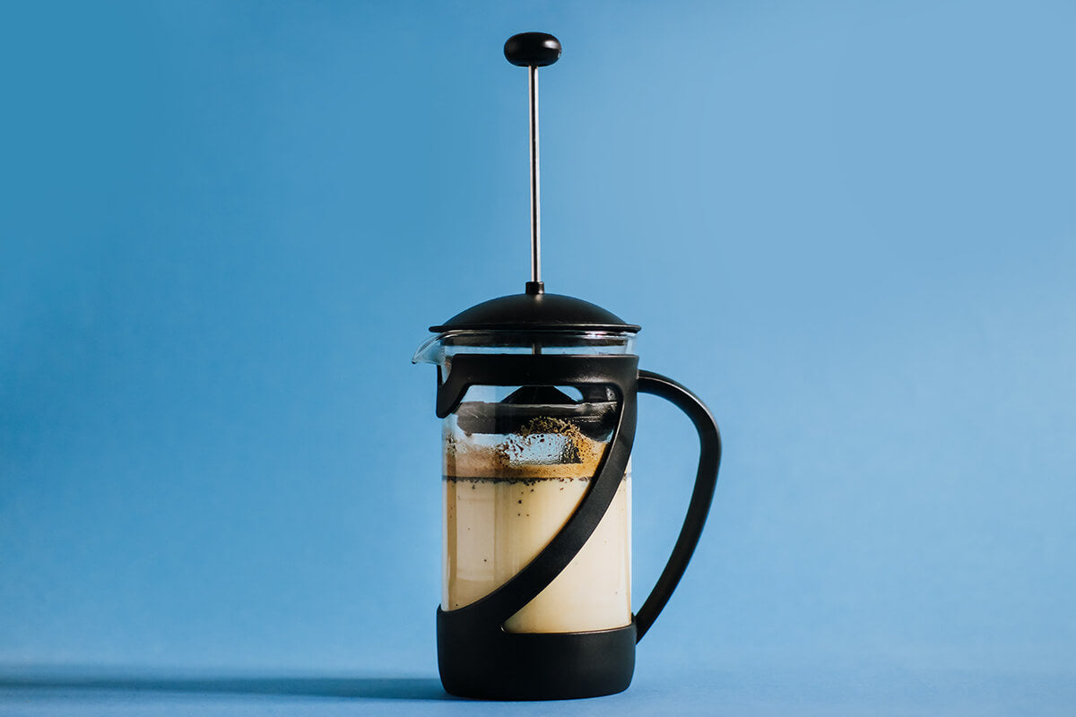 A portable French press, perfect as a travel coffee maker