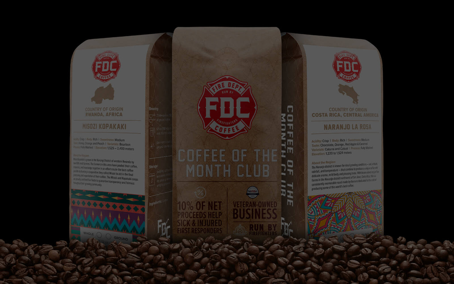 Coffee of the Month Club coffee bags.