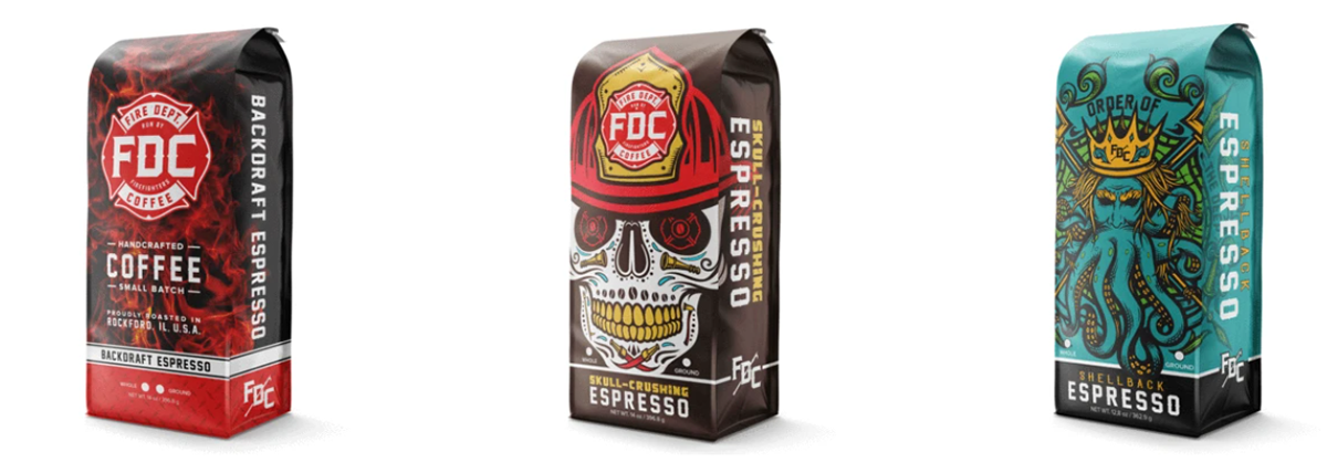 Fire Dept. Coffee espresso grounds and beans