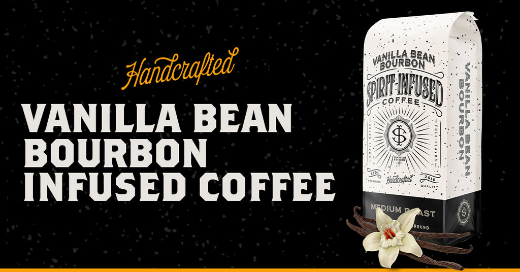 Handcrafted Vanilla Bean Bourbon Infused Coffee. Non-alcoholic.