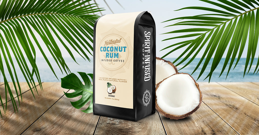 Spirit Infused Coffee Club, Coconut Rum Infused Coffee, 8oz coffee bag in a tropical setting.