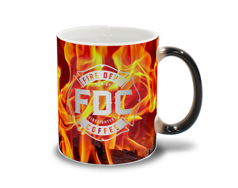 Flame Color Changing Mug Maltese Cross Red And Black Fire Department Coffee