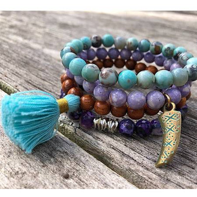 Be Inspired Gem Stack Bracelets, wanderlust, gypsy spirit, meditation jewelry, healing gem stones, mala beads