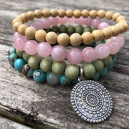 Flower Field Gem Stack Bracelet, mala beads, meditation jewelry, inspirational, healing gem stones