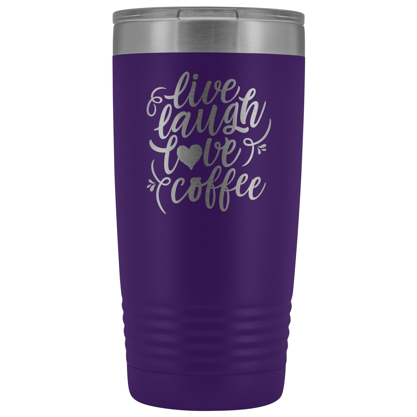 Live, Laugh, Love, Coffee • 15oz Insulated Coffee Tumbler Tumblers teelaunch Purple