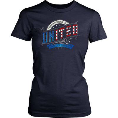 I Thought I Lived in the UNITED States of America • Women's Tees T-shirt teelaunch Crew Neck Navy XS