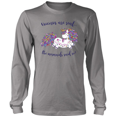 Unicorns Are Real • Women's Tees T-shirt teelaunch Long Sleeve Tee Grey S