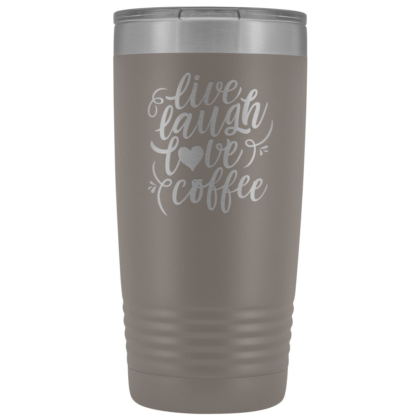 Live, Laugh, Love, 20oz Insulated Coffee Tumbler Tumblers teelaunch Pewter
